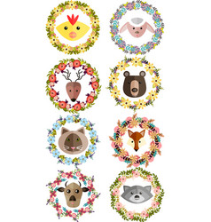 Set of wreaths with animals and flowers vector