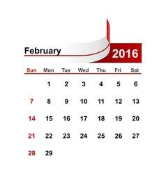 Simple calendar 2016 year february month vector