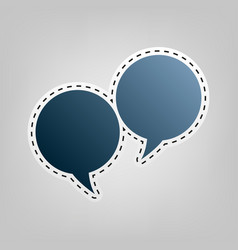 Speech bubble sign blue icon with outline vector