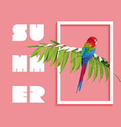 Summer paradise design of bird and palm tree vector