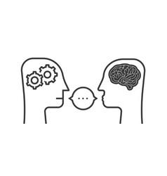 Thin line dialogue between chatbot and human vector