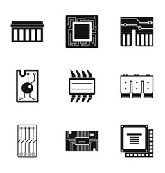 Transistor icons set simple style vector