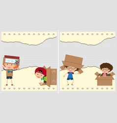 Two backgrounds with kids and cardboard boxes vector
