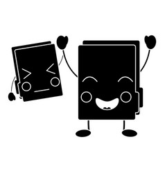 two happy folder file cartoon kawaii icon vector image
