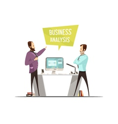 Business Analysis Cartoon Style Design vector image