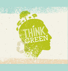 Think green recycle reduce reuse eco poster vector