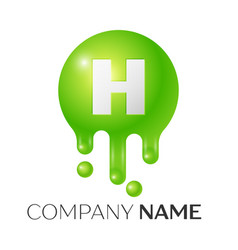 h letter splash green dots and bubbles letter vector image