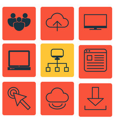 Set of 9 online connection icons includes virtual vector