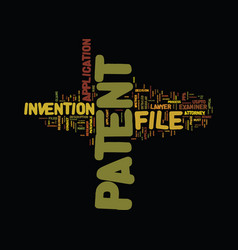 File a patent text background word cloud concept vector