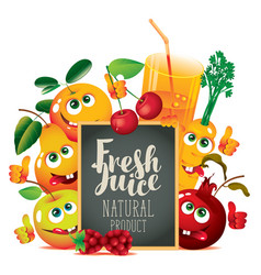 banner for fresh juice with funny fruits vector image