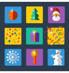 Christmas and new year flat design icon set vector