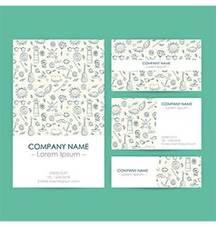 Business set template with hand drawn marine vector