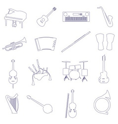 Musical instruments outline icons set eps10 vector
