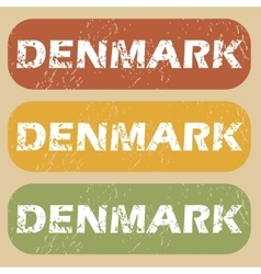 Vintage denmark stamp set vector