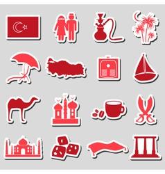 turkey country theme symbols stickers set eps10 vector image