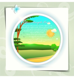 Summer landscape in circle vector