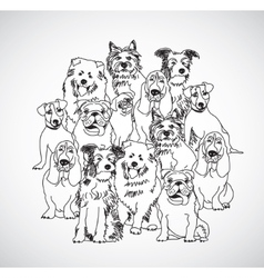 Group dogs black and white isolate vector