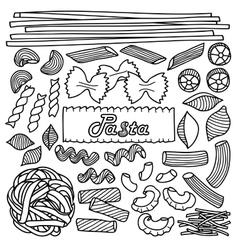 Different types of pasta vector