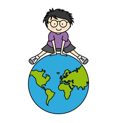 Boy with globe vector