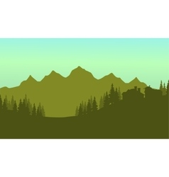 Silhouette of house in mountain vector