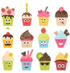 set of cupcake smileys vector image