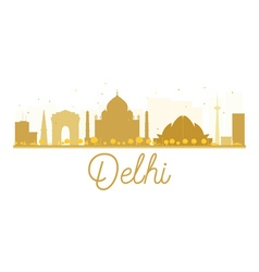 Delhi city skyline golden silhouette vector