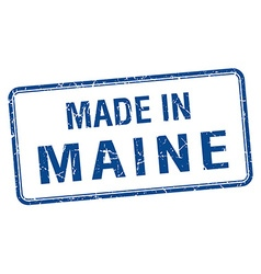 Made in maine blue square isolated stamp vector