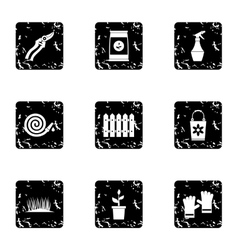 Agriculture icons set grunge style vector image