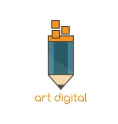 art digital flat design template with pencil vector image vector image