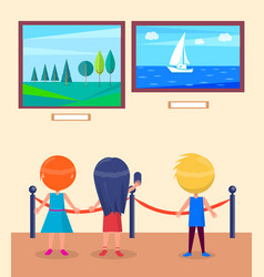 Art gallery excursion for school children vector