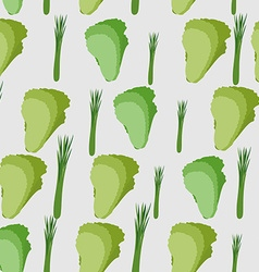 Background of green leaf lettuce seamless pattern vector image