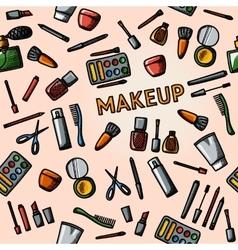 Color hand drawn makeup pattern - mascara polish vector