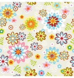 cute seamless flower pattern line art vector image