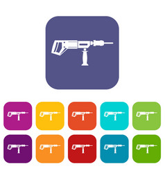Electric drill perforator icons set flat vector