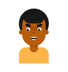 Evil facial expression of black boy avatar vector
