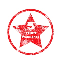 five year warranty red grungy stamp vector image