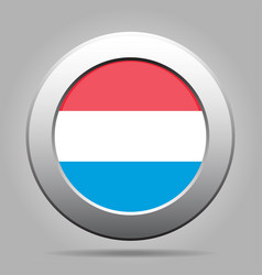 Flag of luxembourg shiny metal gray round button vector