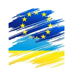 Flag Ukraine and European Union in the form traces vector image vector image