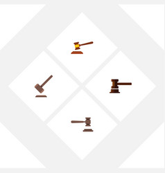 Flat icon court set of hammer legal government vector