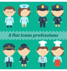 Flat icons professions Set of male and female vector image vector image