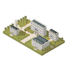 isometric university concept vector image vector image