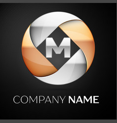 letter m logo symbol in the colorful circle on vector image vector image