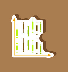 paper sticker on stylish background economic chart vector image