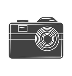 Retro photo camera black icon logo element flat vector