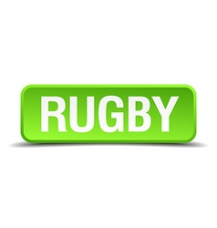 rugby green 3d realistic square isolated button vector image