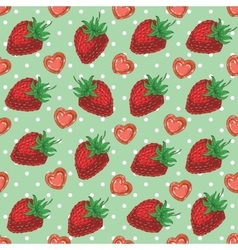 Seamless Pattern with Strawberries and Hearts vector image