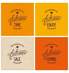 Set of vintage autumn designs vector
