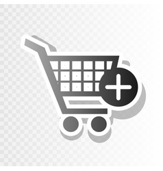 Shopping cart with add mark sign new year vector