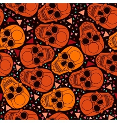 Skull with polygonal ornamenthalloween background vector