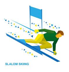 slalom skiing sportsman ski slope down vector image vector image